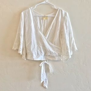 Japna White Cropped Faux Wrap Embroidered Blouse S